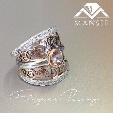 Silver and Rose Gold Filigree designed Ring.jpg