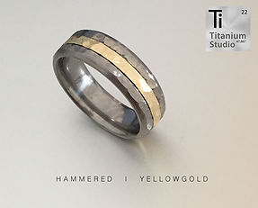 hammered-yellow-gold and titanium mens w