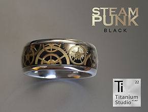 Steampunk gear ring with black resin bac