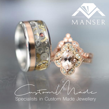 His and Hers Ring Set. Steampunk and Rose Gold Ring paired with a Morganite Rose Gold Ring and Fitted Band.jpg