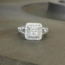 Double Halo Princess Cut Moissanite Ring