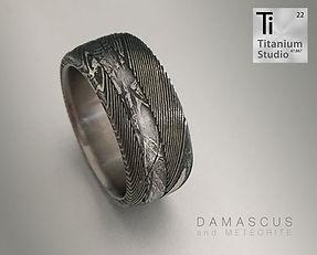 Damascus Steel ring with titanium inner