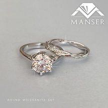 White gold round soliraire moissanite ring and eternity band