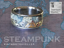 steampunk, steampunk ring, steampunk jewellery, gear ring, watch gear ring, vintage steampunk ring, map ring, vintage map ring