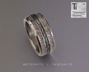 Meteorite inlay ring with tanzanite inla