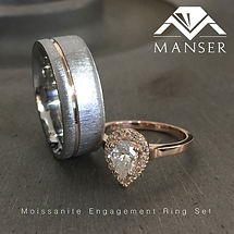 His and hers Wedding ring set with pear shape moissanite