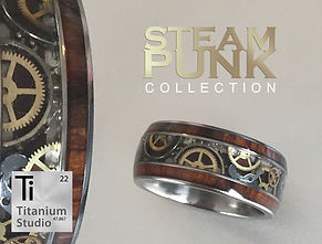 steampunk and wood ring using watch part