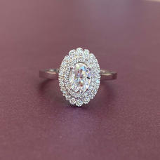 Double halo Oval Moissanite Ring