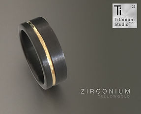 Black Zirconium mens ring with yellow go