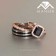 Black and Rose Gold Engagement ring and wedding band set