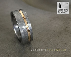 Meteorite ring, meteorite mens ring, meteorite and yellow gold ring