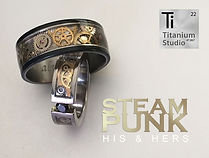 steampunk,steampunk ring,steampunk jewellery, gear ring, watch gear ring, vintage steampunk ring, his and hers matching rings, black rings