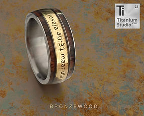 bronze and wood inlay mens wedding ring