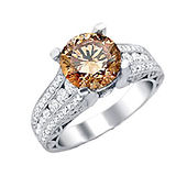 Cognac diamond ring, Cognac diamond, brown diamond, fancy diamond