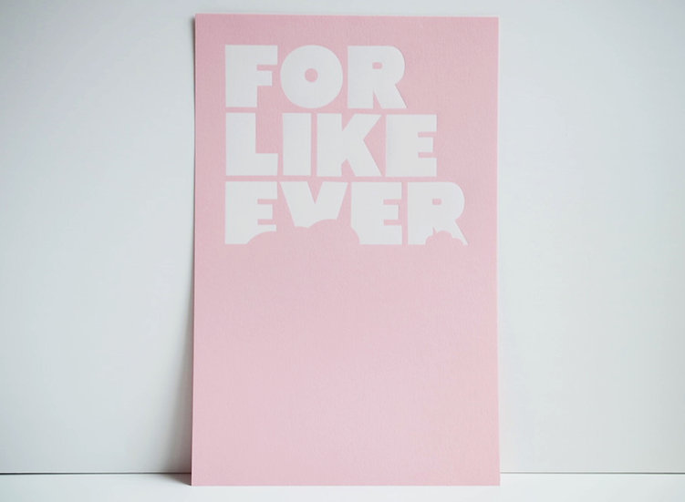 White Foil on Pink / 11x17