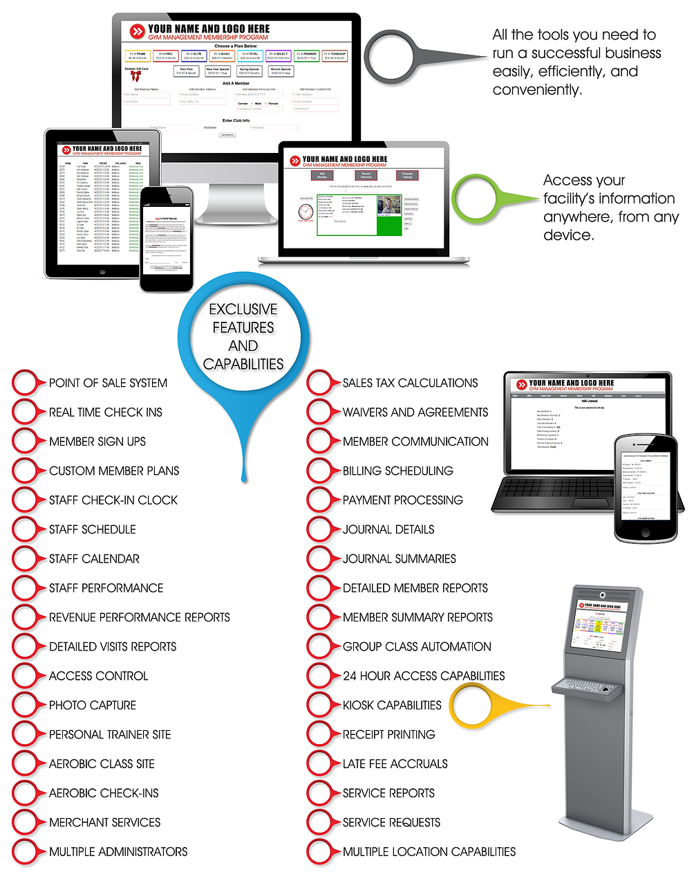 Gym Management Software includin member sign-up, check-in, payment processing, class automation, and more