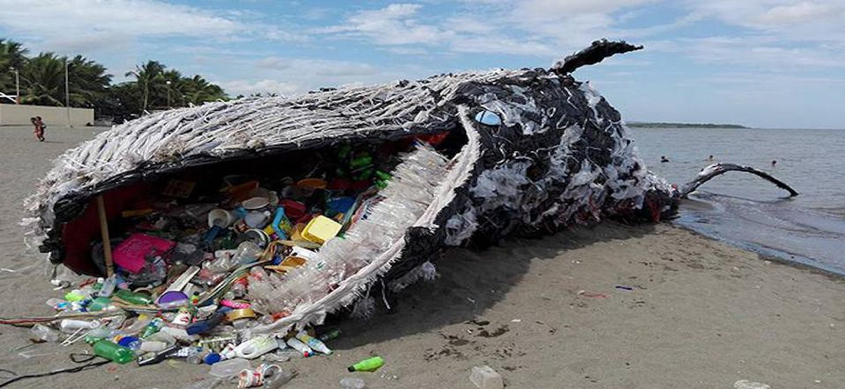 Greenpeace Philippines representation of a dead whale from ingestion of plastic. The representation is increasingly becoming a reality.