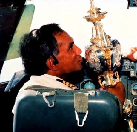 Proud moment: Flying the World Cup in 1996