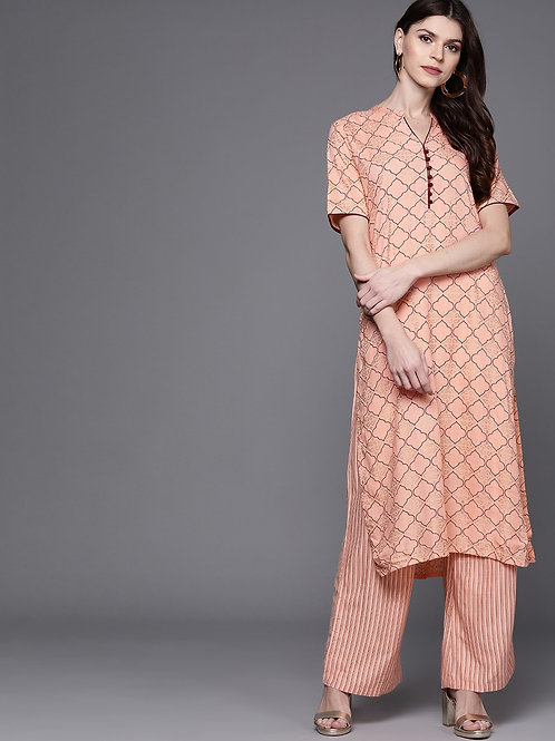 Women Peach-Coloured & Golden Printed Kurta with Palazzos