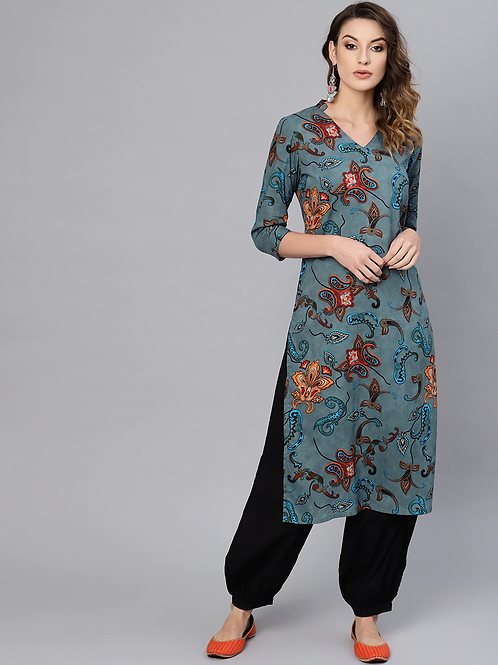 Women Blue & Black Printed Kurta with Trousers