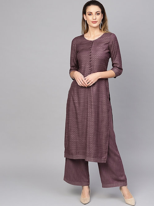 Women Purple Self Design Kurta with Palazzos