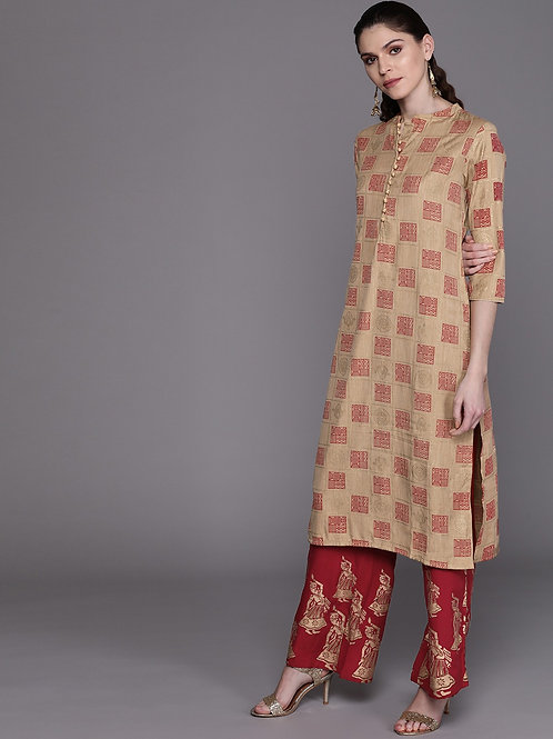 Women Beige & Maroon Printed Kurta with Palazzos