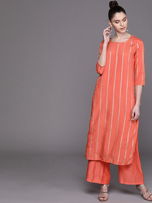 Women Coral Orange & Silver Self-Striped Kurta with Palazzos