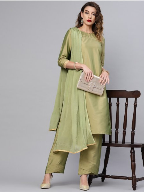 Olive pin tucked kurta set with dupatta