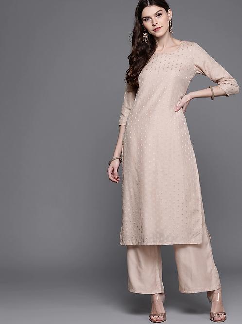 Women Dusty Pink & Golden Woven Design Kurta with Palazzos