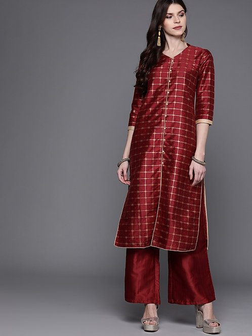 Women Maroon & Golden Checked Kurta with Palazzos