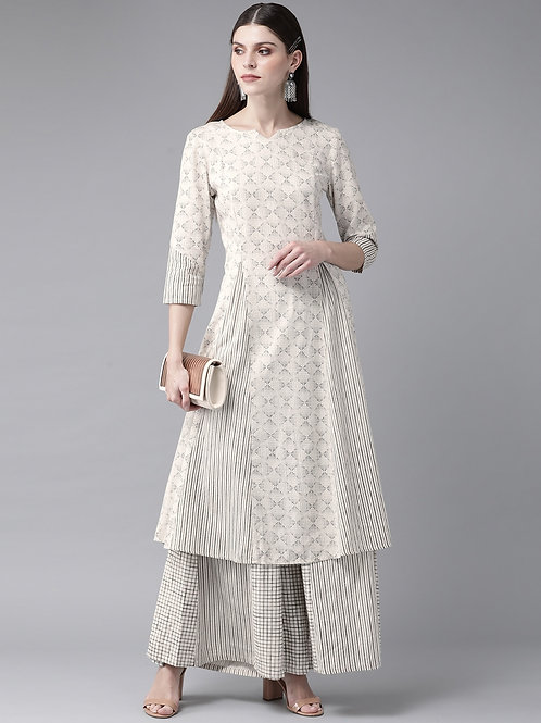 Women Off-White & Charcoal Grey Printed Kurta with Palazzos