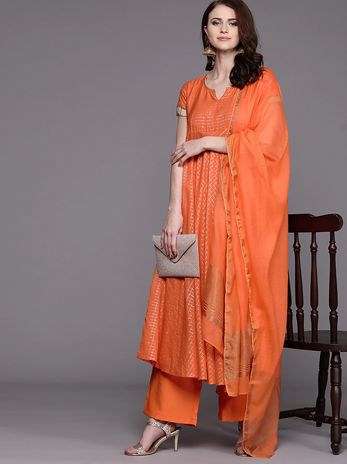 Women Orange & Golden Checked Kurta with Palazzos & Dupatta