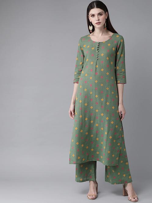 Women Green & Pink Printed Kurta with Palazzos