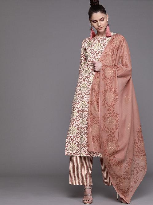 Women Off-White & Dusty Pink Printed Kurta with Palazzos & Dupatta