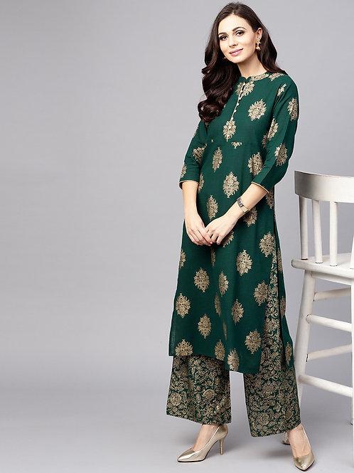 Women Green & Golden Printed Kurta with Palazzos
