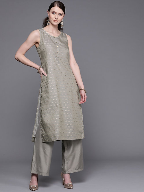 Women Grey & Golden Woven Design Kurta with Palazzos