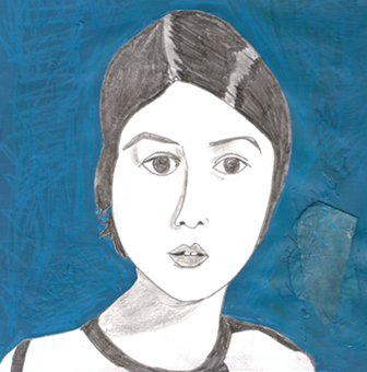 collage mixed media drawing texture self portrait young girl blue