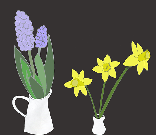 Hyacinths Daffodils Norooz illustration hand dawn digital color illustration by Azita Houshiar