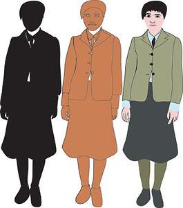 3 nerdy girls digital illustration dorky school uniform