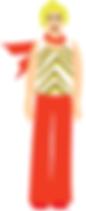 Blonde woman older digital illustration scarf flowing