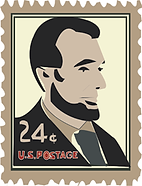 Illustration Lincoln Stamp 24 cents vintage U.S.Postage digital illustration