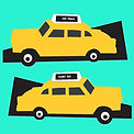 Yellow taxi cabs New York digital illustration