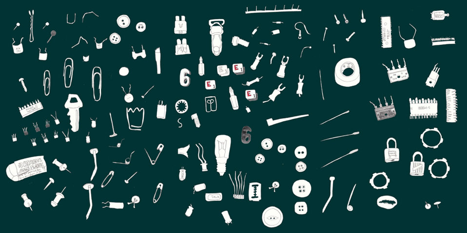Line drawing illustration of lots of trinkets safety pins computer chips buttons pins paper clips nails needle keys etc by Azita Houshiar