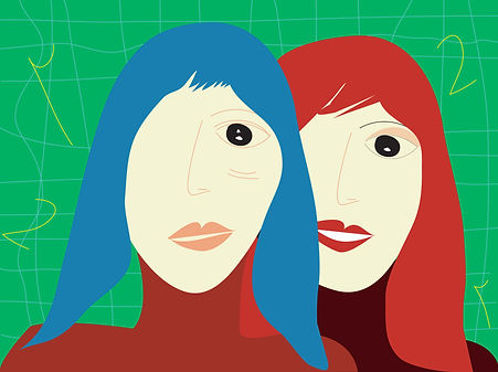 Same woman sad happy twins portrait digital illustration