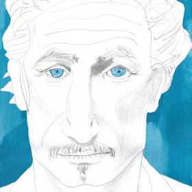 Portrait Sean Penn with blue eyes piercing hand drawn pencil with digital collage acrylic background