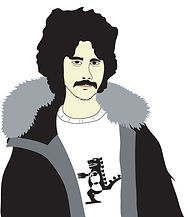 Hipster Dude 2 | Illustration digital wearing fur trimmed hoody park Tshirt with dinosaur graphic big hair mustache