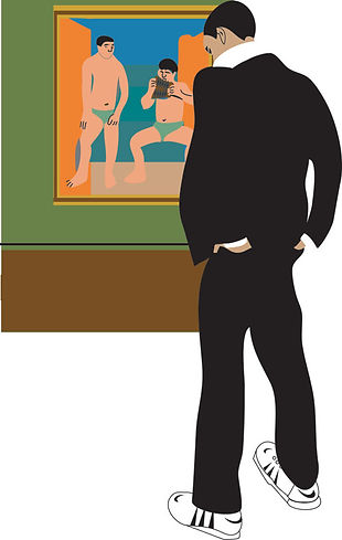 Dude with Picasso painting in Museum digital illustration