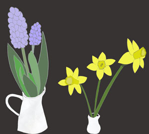 Hyacinths Daffodiles Illustrations drawing still life flowers for Norooz by Azita Houshiar
