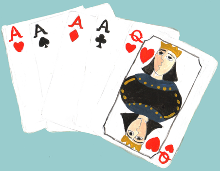 Deck of Cards with Queen of hearts and 4 Aces illustration drawn painted by Azita Houshiar