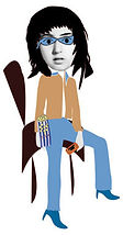 girl blue sunglasses popcorn seated digital portrait illustration